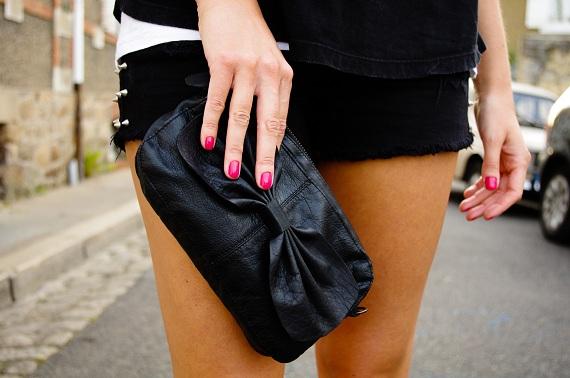 sac pochette Pieces noeud noire