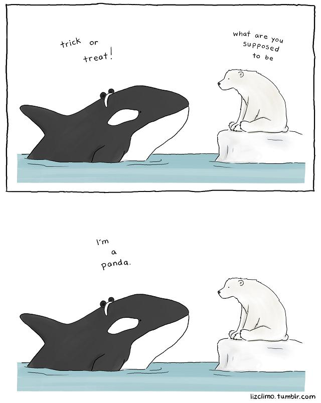 illustration halloween orque panda Liz Climo