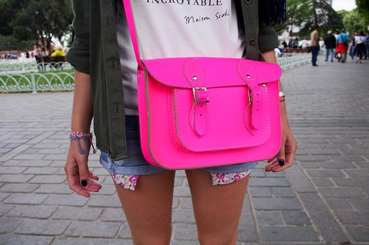 chemise short Zara cartable rose