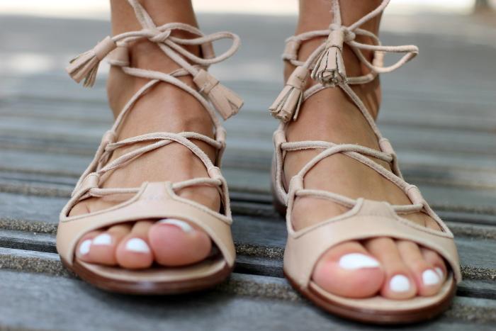 sandales gladiateur roses Zara