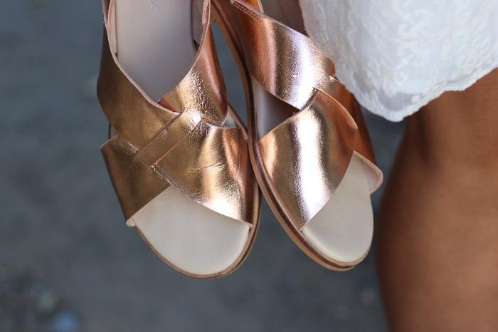 sandales cuir doré Loreak Mendian