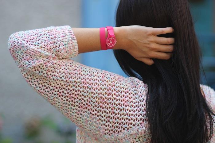 montre Swatch rose double bracelet