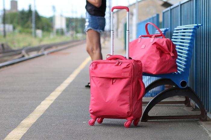 set valise sac Lipault rouge rose