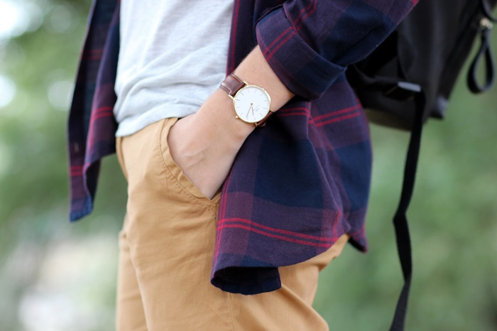 montre or cuir marron Daniel Wellington