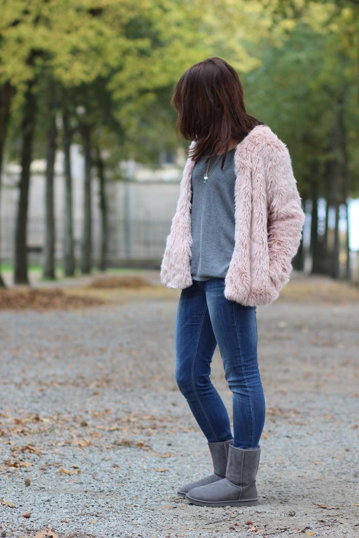 manteau fausse fourrure rose