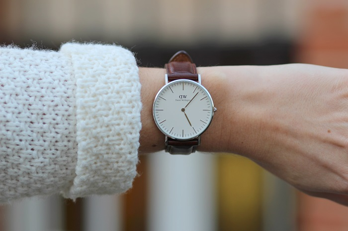 montre Daniel Wellington argent cuir marron