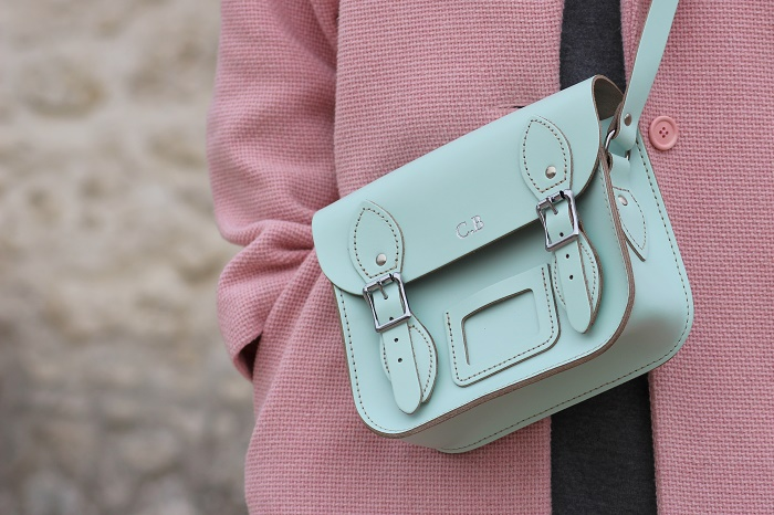 sac cartable The Leather Satchel Co. bleu pastel