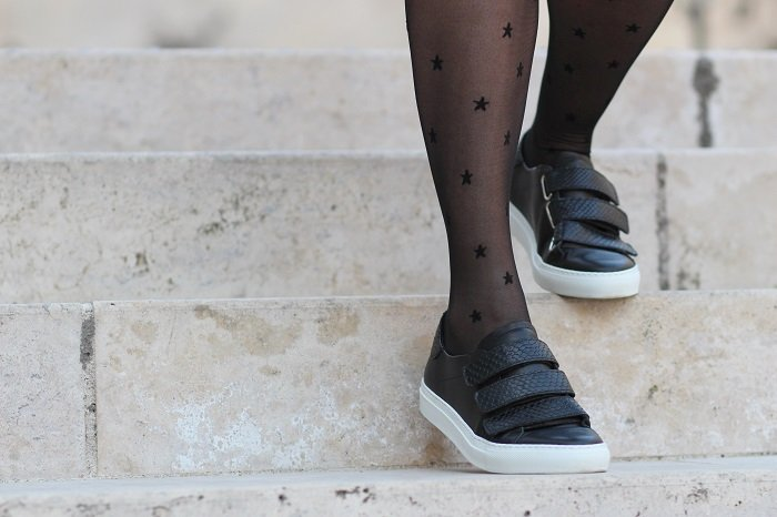 baskets sneakers cuir noir Cosmoparis