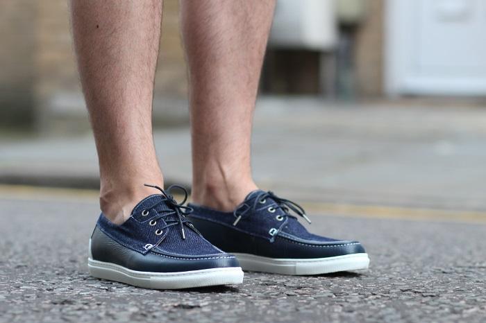 chaussures bateau bleues Hacter
