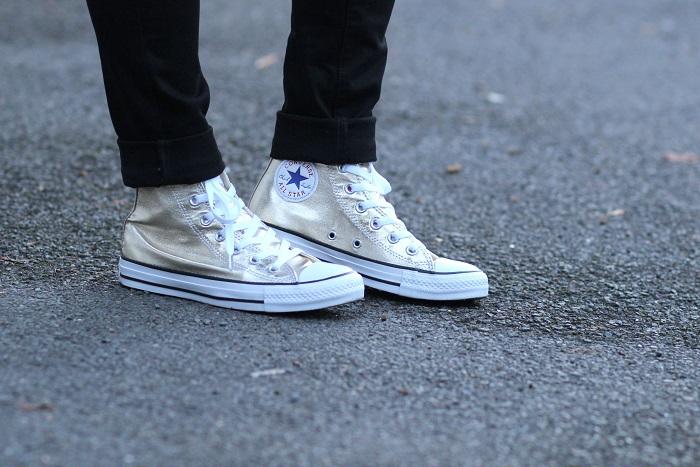 baskets Converse dorées