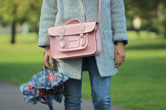 sac cartable cuir rose