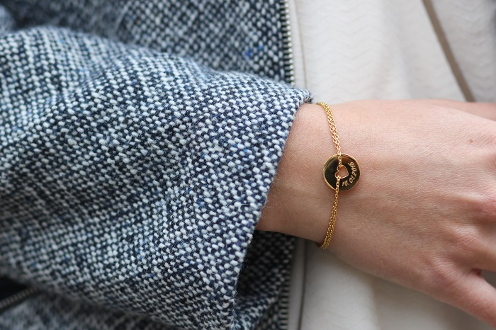 bracelet petit coeur gravé personnalisable