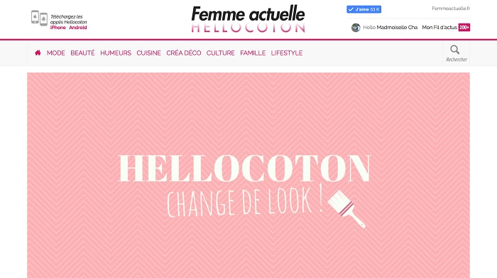 La page d'accueil Hellocoton et son nouveau design