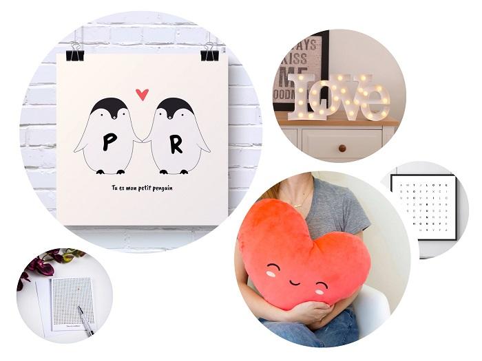 Une sélection de cadeaux femme pour la Saint Valentin : lampe LOVE, coussin cœur, carte